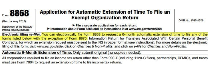 Update To Irs Form 990 Extension Filing
