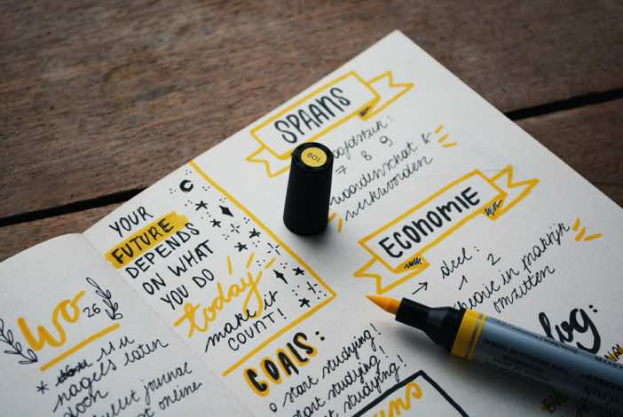 Journal with yellow marker