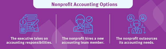 The nonprofit accounting responsibilities could lie with your executive, a new accountant hire, or an outsourced firm.