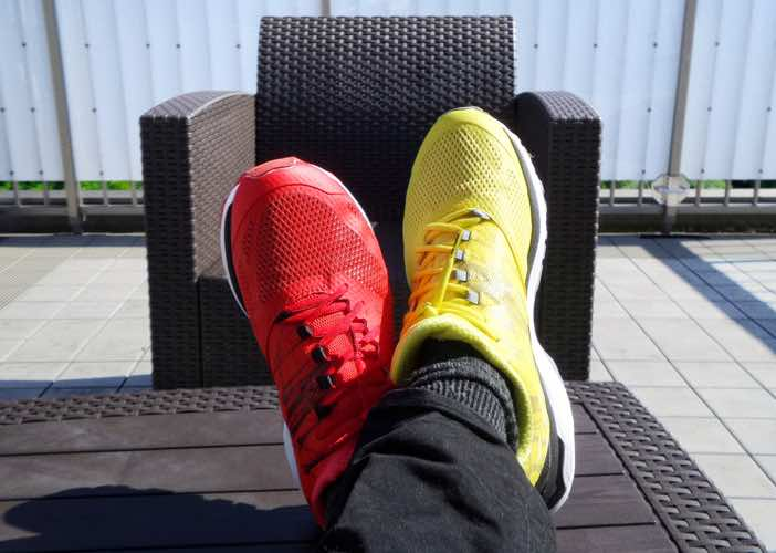 Red and yellow shoes